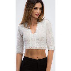 Kremowa krótka koronkowa bluzka 21218. Białe bluzki damskie Fasardi, l, z koronki, z krótkim rękawem. Za 69,00 zł.