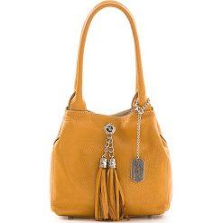 Torebki klasyczne damskie: Skórzana torebka w kolorze żółtym – 23 x 18 x 10 cm