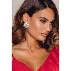 Kolczyki damskie: NA-KD Accessories Duże, okrągłe kolczyki z kryształami – Silver