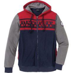Bluza rozpinana z polaru z kapturem Regular Fit bonprix ciemnoniebiesko-dymny szary - ciemnoczerwony. Szare bluzy męskie rozpinane marki TARMAK, m, z bawełny, z kapturem. Za 129,99 zł.