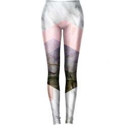 Legginsy we wzory: Legginsy w kolorze szaro-różowym