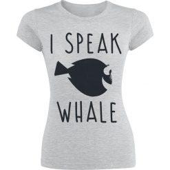 Gdzie jest Nemo? I Speak Whale Koszulka damska odcienie szarego. Szare bluzki z odkrytymi ramionami Gdzie jest Nemo?, xxl, z nadrukiem, z okrągłym kołnierzem. Za 74,90 zł.
