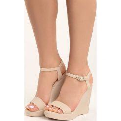 Beżowe Sandały Dina. Brązowe sandały damskie marki Born2be, na wysokim obcasie, na koturnie. Za 79,99 zł.