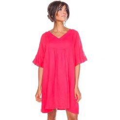 """Sukienki hiszpanki: Lniana sukienka """"Louna"""" w kolorze koralowym"""