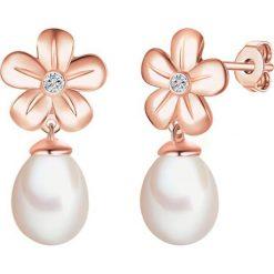 Kolczyki damskie: Pozłacane kolczyki-wkrętki z diamentami i perłami słodkowodnymi