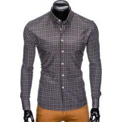 Koszule męskie na spinki: KOSZULA MĘSKA Z DŁUGIM RĘKAWEM K425 – GRAFITOWA