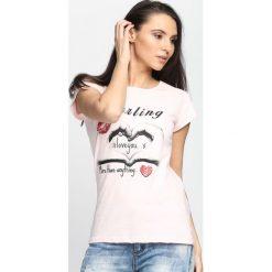 Różowy T-shirt From Love. Czerwone bluzki asymetryczne Born2be, xl. Za 14,99 zł.
