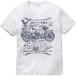 T-shirt z nadrukiem Regular Fit bonprix biały. Białe t-shirty męskie z nadrukiem marki bonprix, m. Za 24,99 zł.