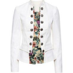 Marynarki i żakiety damskie: Żakiet w optyce 2 w 1 bonprix biały w kwiaty