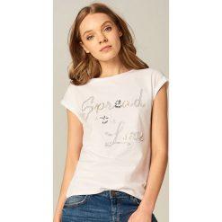 T-shirty damskie: Bawełniana koszulka ze zdobionym napisem – Biały
