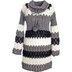 Długi sweter bonprix w paski. Szare swetry klasyczne damskie bonprix. Za 109,99 zł.