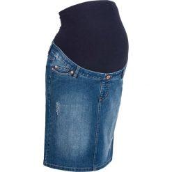"""Spódnica ciążowa dżinsowa """"super-stretch"""" bonprix niebieski """"stone"""". Niebieskie spódnice ciążowe bonprix, w paski, z materiału, moda ciążowa. Za 89,99 zł."""