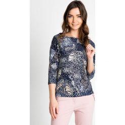 Bluzki damskie: Granatowa bluzka z rękawem 3/4 QUIOSQUE