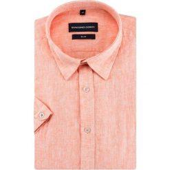 Koszula SIMONE slim KLOS500015. Brązowe koszule męskie na spinki marki FORCLAZ, m, z materiału, z długim rękawem. Za 169,00 zł.