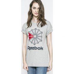 Reebok Classic - Top. Szare topy sportowe damskie marki Reebok Classic, l, z nadrukiem, z bawełny, z okrągłym kołnierzem. W wyprzedaży za 89,90 zł.