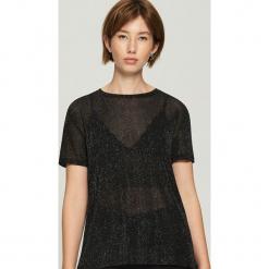 Transparentny t-shirt - Czarny. Czarne t-shirty damskie Sinsay, l. Za 39,99 zł.