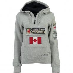 """Bluza """"Gyrelle"""" w kolorze szarym. Szare bluzy rozpinane damskie marki Canadian Peak, s, z aplikacjami, prążkowane, z krótkim rękawem, krótkie. W wyprzedaży za 136,95 zł."""