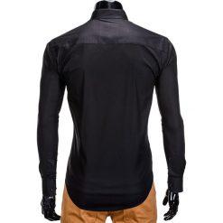 KOSZULA MĘSKA ELEGANCKA Z DŁUGIM RĘKAWEM K307 - CZARNA. Brązowe koszule męskie na spinki marki Ombre Clothing, m, z aplikacjami, z kontrastowym kołnierzykiem, z długim rękawem. Za 59,00 zł.
