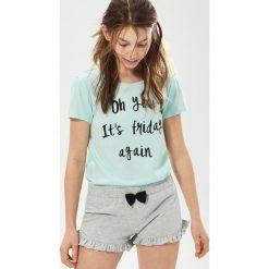 Piżamy damskie: Dwuczęściowa piżama z napisem – Turkusowy