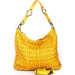 Torebki klasyczne damskie: Skórzana torebka w kolorze żółtym – 35 x 32 x 9 cm