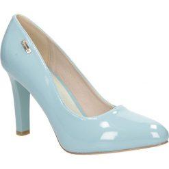 Niebieskie czółenka lakierowane na słupku szary morski Sergio Leone 1457. Czarne buty ślubne damskie marki Sergio Leone. Za 98,99 zł.