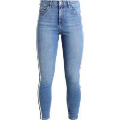 Topshop JAMIE SIDE STRIPE Jeans Skinny Fit blue denim. Niebieskie jeansy damskie marki Topshop, z bawełny. Za 269,00 zł.