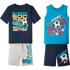 Koszulka + koszulka bez rękawów + bermudy (4 części) bonprix ciemnoniebiesko-turkusowo-szary z nadrukiem. Niebieskie t-shirty chłopięce z krótkim rękawem marki PARADISE, na lato, z nadrukiem, z bawełny. Za 79,99 zł.