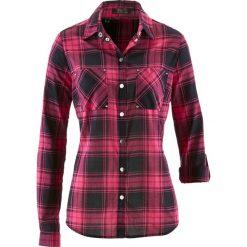 Bluzka w kratę bonprix ciemnoróżowo-czarny w kratę. Czerwone bluzki damskie bonprix. Za 49,99 zł.