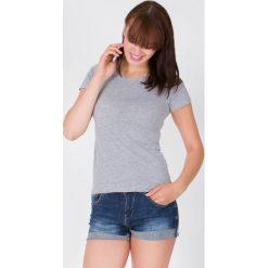 Bluzki damskie: Bluzka basic krótki rękaw okrągły dekolt jasnoszara