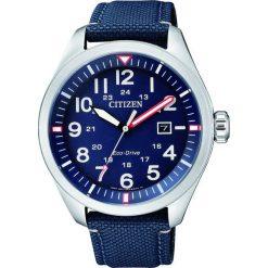 ZEGAREK CITIZEN Military AW5000-16L. Niebieskie, analogowe zegarki męskie CITIZEN, sztuczne. Za 590,00 zł.