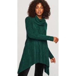 Długi sweter z golfem - Khaki. Białe golfy damskie marki Reserved, l, z dzianiny. Za 119,99 zł.