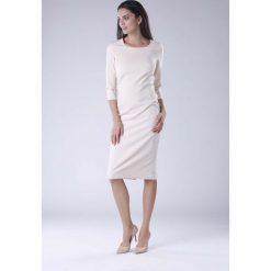 Beżowa Klasyczna Dopasowana Sukienka Midi. Szare sukienki balowe marki Sinsay, l, z dekoltem na plecach. W wyprzedaży za 120,81 zł.