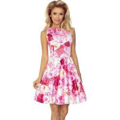 125-16 sukienka koło - dekolt łódka - różowe róże. Różowe sukienki marki numoco, l, z dekoltem w łódkę, oversize. Za 161,00 zł.