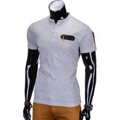 T-SHIRT MĘSKI BEZ NADRUKU S665 - SZARY. Szare t-shirty męskie z nadrukiem marki Ombre Clothing, m, z bawełny, ze stójką. Za 35,00 zł.