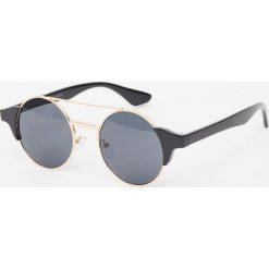 Okulary przeciwsłoneczne damskie aviatory: Okrągłe okulary przeciwsłoneczne ze złotym mostkiem