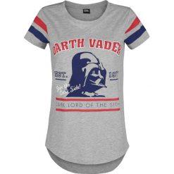 Star Wars Darth Vader Koszulka damska odcienie szarego. Szare bluzki z odkrytymi ramionami marki Star Wars, l, z motywem z bajki, retro, z okrągłym kołnierzem, z krótkim rękawem. Za 79,90 zł.