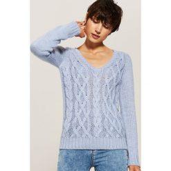 Sweter z warkoczami - Niebieski. Niebieskie swetry klasyczne damskie House, l. Za 59,99 zł.
