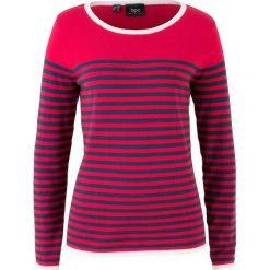 Swetry klasyczne damskie: Sweter w paski bonprix czerwono-ciemnoniebieski w paski