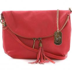 Skórzana torebka w kolorze czerwonym - 22 x 18 x 2 cm. Czerwone torebki klasyczne damskie Anna Morellini, z aplikacjami, z materiału. W wyprzedaży za 173,95 zł.