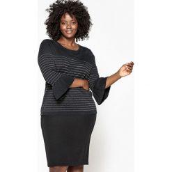 Kardigany damskie: Sweter w drobne prążki z metalowym połyskiem