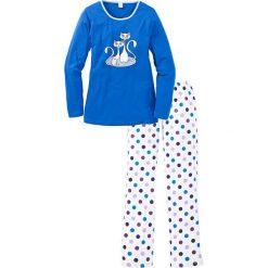 Piżamy damskie: Piżama bonprix niebieski w groszki