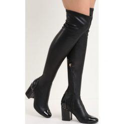 Czarne Kozaki Reach the Sky. Czarne buty zimowe damskie marki Born2be, z okrągłym noskiem, na niskim obcasie, na słupku. Za 84,99 zł.