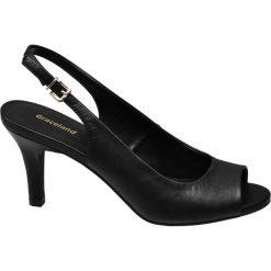 Sandały na obcasie Graceland czarne. Czarne sandały damskie marki Graceland, w kolorowe wzory, z materiału. Za 89,90 zł.