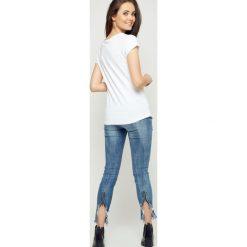 Bluzka basic krótki rękaw biała. Białe bluzki damskie Yups, l, z bawełny, z krótkim rękawem. Za 19,99 zł.