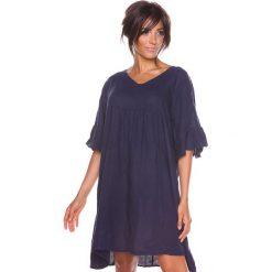 """Sukienki hiszpanki: Lniana sukienka """"Louna"""" w kolorze granatowym"""