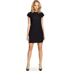 Sukienki balowe: Mini sukienka – tunika ze złotymi ćwiekami – czarna