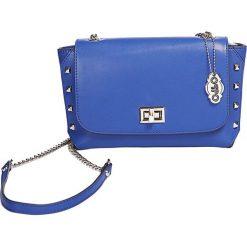 """Skórzana torebka """"Clarysse"""" w kolorze niebieskim - 21 x 13 x 7,5 cm. Niebieskie torebki klasyczne damskie Oqpo, w paski, z materiału. W wyprzedaży za 280,95 zł."""