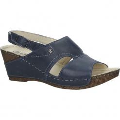 Granatowe sandały skórzane na koturnie Helios 217. Szare sandały damskie marki Helios, na koturnie. Za 168,99 zł.
