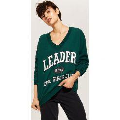 Bluza z napisem - Khaki. Brązowe bluzy damskie marki House, l, z napisami. Za 79,99 zł.