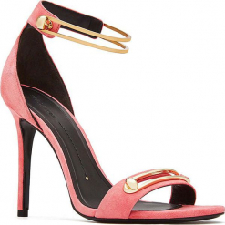 Skórzane sandały w kolorze różowo-złotym. Czerwone sandały damskie Stella Luna, w paski, ze skóry, na obcasie. W wyprzedaży za 636,95 zł.